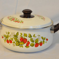 Vintage Strawberry Enamel Pot Covered in Strawberries, Foliage and Butterflies with Lid