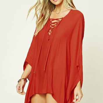 Lace-Up Cover-Up Kaftan