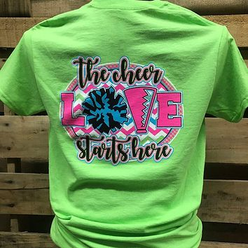 Southern Chics Cheerleader Cheer Love Go Team Girlie Bright T Shirt