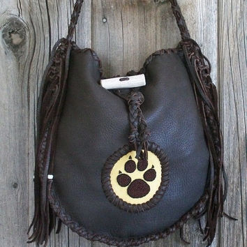 Chocolate handbag with a beaded wolf paw totem , Handmade fringed leather tote