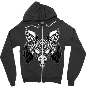 bat ornate Zipper Hoodie