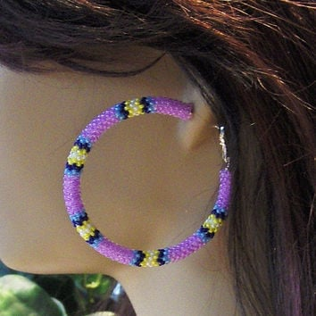 Hoop Earrings Beaded With Lilac and Blue Glass Seed Beads/Earrings/Stud Earrings/Gifts For Her/Beaded Earrings/Jewelry