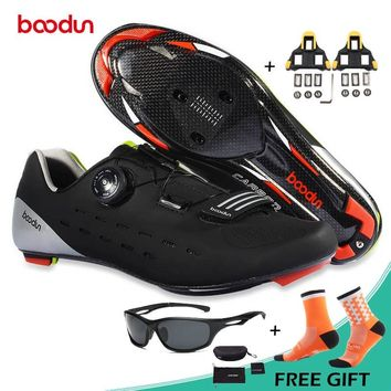 BOODUN Professional Carbon Fiber Road Bike Shoes Self-locking Breathable Cycling Shoes Wear-resistance Road Bicycle Shoes