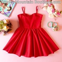 Kids Red Dress with Adjustable Straps - Child's Size