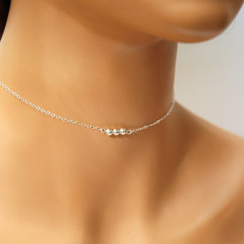 Dainty Choker Necklace, Simple Sterling Silver Bead Necklace, Delicate Necklace, Layered Necklace