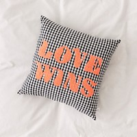 Love Wins Gingham Throw Pillow | Urban Outfitters