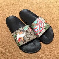 Gucci Slippers Flat Sandals Casual Fashion Women Floral Birdie Print Sandal Slipper Shoes