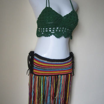 cropped top, halter, crochet halter top, beachwear, festival clothing, gypsy, FOREST GREEN, coachella, burning man, Bohemian,