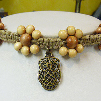 Owl Chillin Amongst the Daisies  Hemp Anklet  2