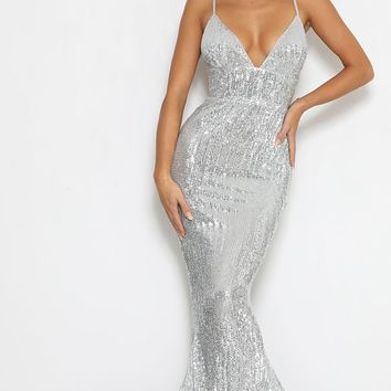 Stealing Hearts Silver Sequin Sleeveless Spaghetti Strap Plunge V Neck Backless Mermaid Maxi Dress