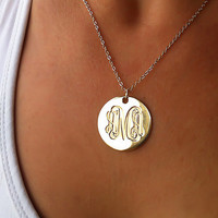 Engraved Gold Monogram Necklace 1 18K Gold by MyPersonalizedJewel