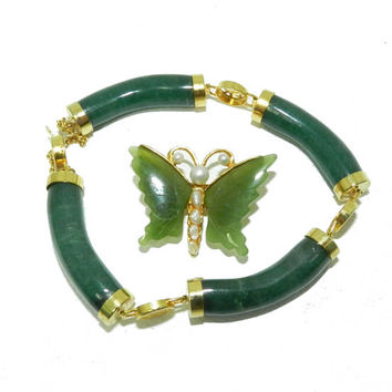 Green Jade Link Bracelet, Jade Bracelet Jade Brooch, Asian Inspired Bracelet, Vintage 1950s Bracelet, Jade Butterfly Pin Included