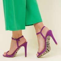Purple Zebra Print Sole Barely Theres Sandals | New Look