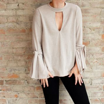 Naomi Choker Knit Top - tan