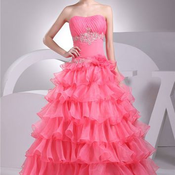 Prom Dresses A Line Floor Length Tiered Prom Gown Sleeve Less Organza Lace Event Dress