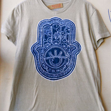 Hamsa Batik yoga T Shirt V-neck short sleeved unisex Hand painted Tan Size. S, M, L, XL, XXL