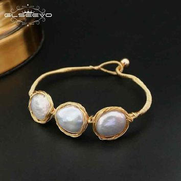 GLSEEVO Natural Fresh Water Baroque Pearl Bracelets For Women Engagement Gift Bileklik Bracelets & Bangle Fine Jewelry GB0056