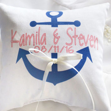 Anchor Ring bearer pillow, personalized ring pillow , wedding pillow ,personalized ring pillow, ring bearer pillow (R10)