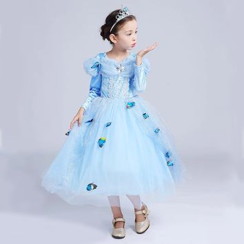 Princess Costume - Blue Long Sleeve Bubble Gown Skirt Cinderella Dress - 👗💘👑🎃👠