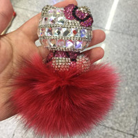 Cute Rear View Mirror Charm Bling Bling Kitten Dolls Clean Rhinestone Stones Red Pompoms Fuzzy With Pearl Chains Women Car Accessories