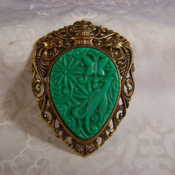 Vintage Green Bakelite Dragon Brooch