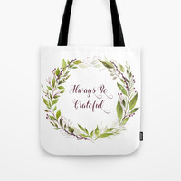 Watercolor Purple Berries Leaves Greenery Wreath Tote Bag by DazzetteMarie