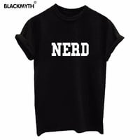 Tops Fashion NERD Letter Print T shirt Women Fashion Summer Style Casual Short sleeve Black White