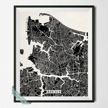 Norfolk Print, Virginia Poster, Norfolk Poster, Norfolk Map, Virginia Print, Virginia Map, Wall Decor, Map Print, Wall Art