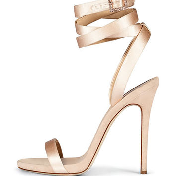 Giuseppe Zanotti for Jennifer Lopez Leslie Satin Ankle-Wrap 120mm Sandal, Nude