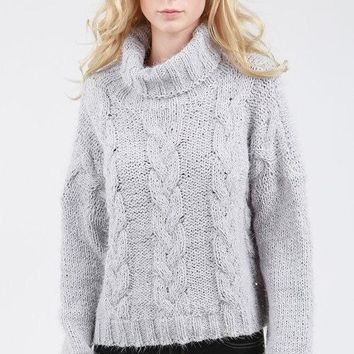 POL Turtleneck Cable Knit Mohair Sweater