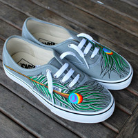 Hand Painted Peacock Feathers on Grey Authentic Vans