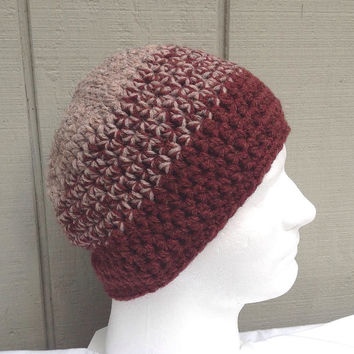 Crochet beanie - Mens wool hat - Chunky wool beanie - Teens hat - Crocheted Mens hat