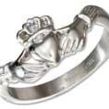 Stainless Steel Irish Claddagh Ring with Curved Arms