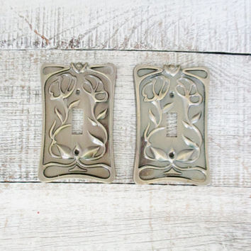 Light Switch Covers 2 Bronze Lightswitch Cover Floral Light Switch Plates Mid Century Light Switch Covers Cottage Chic Decor Outlet Cover