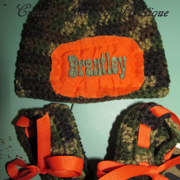Custom Handmade Woodland camo camouflage Onesuit you choose name with crocheted hat and matching booties