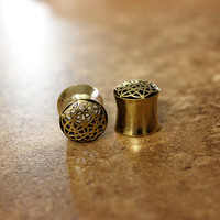 "Pair Antique Brass Saddle Plugs, Flower Of Life Double Flare Gauges, 0G 00G 1/2"" 9/16"" 5/8"", Body Jewelry Nickel Free"