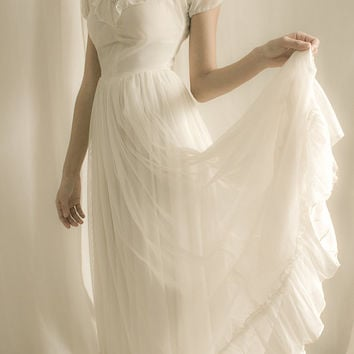 1920's  Wedding Dress - White Ruffles