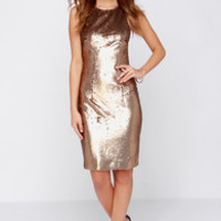 Bariano Riley Bronze Sequin Dress
