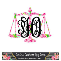 Pattern Justice Scales Monogram Decal - Law Monogram Decal - Car Decal - Judge Decal - Lawyer Monogram