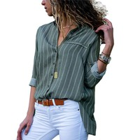 Blouse Women 2019 Striped Chiffon Blouse Long Sleeve Turn Down Collar Office Shirt Casual Loose Tops Blouses Plus Size Blusas