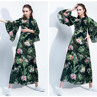maxi dress summer in green,floral,flare sleeve,long length,vintage style,elegant,fashion,unique,chic,resort,beach.--E0259