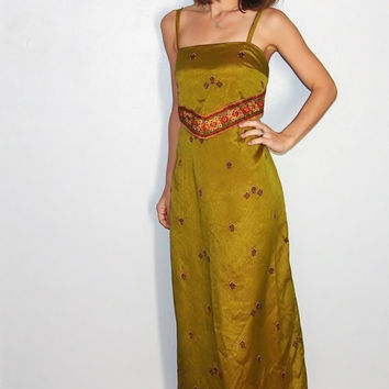 Vintage Maxi Dress, Olive Green with Yellow and Red Details, Medium, Formal Dress, Minimalist Maxi