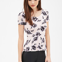 FOREVER 21 Rose Print Peplum Top Pink/Grey