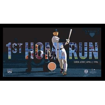 Steiner Sports New York Yankees Derek Jeter Moments First Career Home Run Framed 10'' x 20'' Photo with Authentic Field Dirt (Ynk Team)