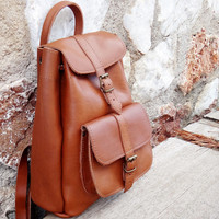 Oiled Brown Tobacco Color Leather Backpack / Small Size Backpack / Medium / Twininas Full Grain Leather / Unisex Greek Backpack Bag