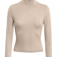 LE3NO Womens Fitted 3 4 Sleeve Turtleneck Crop Top with Stretch