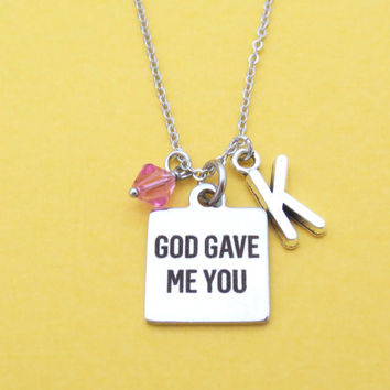 God Gave Me You, Personalized, Color, Birthstone, Personalized, Letter, Initial, Silver, Necklace, Birth, Stones, Birthday, Gift, Jewelry