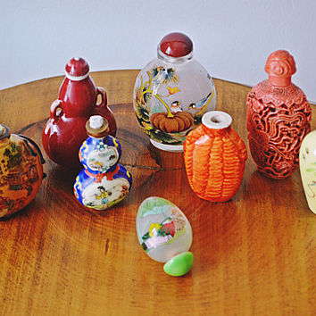 Collection of Vintage Snuff Bottles, Inside Painted Bottle, Hand Painted Snuff Bottles, Inside Painted Snuff Bottle