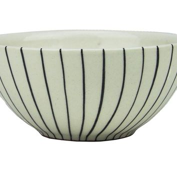 "5.75"" Basic Luxury Decorative Black Stripes on White Round Terracotta Serving Bowl"