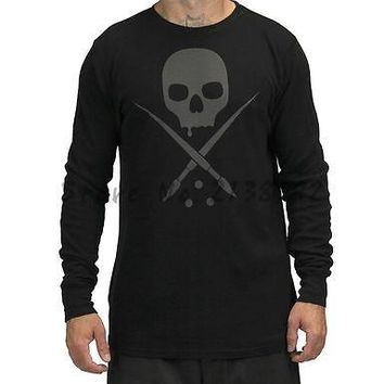 CLOTHING BLACK ALL DAY BADGE THERMAL L/S  LOGO SKULL TATTOO T SHIRT